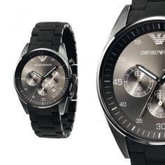 Emporio Armani Herren Uhr AR5889 mit Silikon Armband und Chronograph NEU & OVP