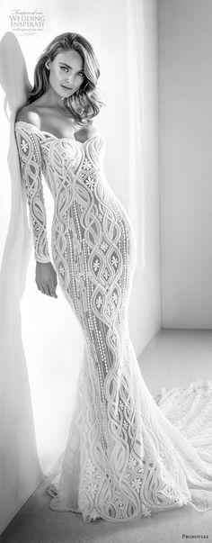 atelier pronovias 2018 bridal long sleeves sweetheart neckline full embellishment elegant fit and flare wedding dress sheer button back chapel train (3) mv -- Atelier Pronovias 2018 Wedding Dresses