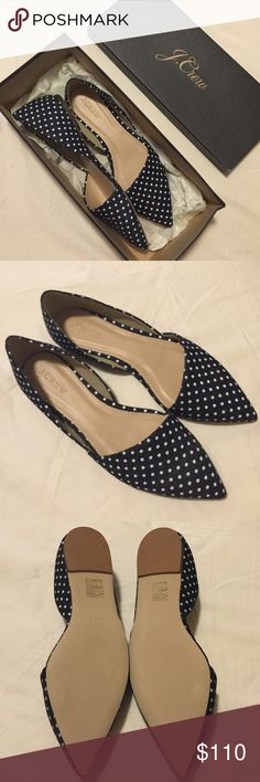 J. Crew Sloan D'orsay Flats in Polka Dot Denim New in box! J. Crew Shoes Flats & Loafers