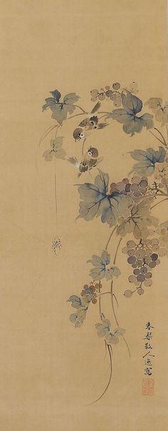 Un par de gorriones se posa en una vid. Pintado con tinta y pigmentos en seda. Shunkin de firmado y sellado. Urakami Shunkin (1779-1846) fue un pintor japonés Nanga (literatos sur) activo durante finales del período Edo (1603-1867). Él era el hijo mayor y una pupila de Uragami Gyokudo (1745-1820), de quien aprendió la pintura. Shunkin era también adepto en el pájaro y la flor, así como pinturas del paisaje. Él era también destacan en la caligrafía, la poesía así como un excelente valuador…