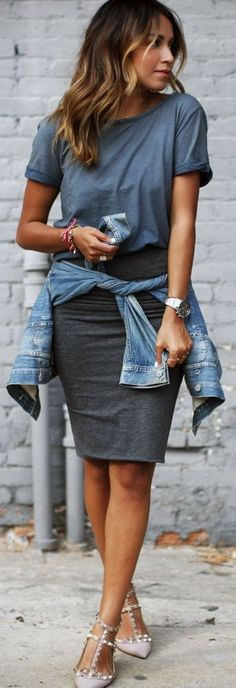 Tee. Pencil skirt and denim jacket tied around the waist.