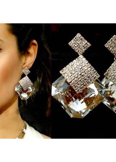 New 2014 Hot Fashion Women Square Crystal Luxury Sparkling Big Drop Earrings 21bbe747ae37