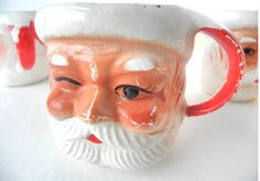 Vintage Retro Kitschy Santa Mugs Set of 4 by LazyHouseCollective