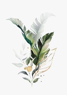 Watercolor Leaves, Watercolor Art, Watercolor Plants, Silhouette Cameo 4, Leaf Illustration, Botanical Wall Art, Plant Art, Minimalist Art, Printable Wall Art