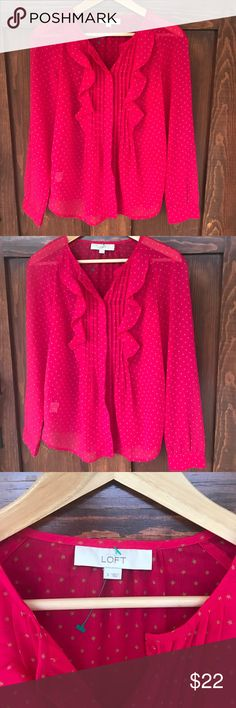 LOFT pink button down Blouse with star design EUC! Vibrant shade of pink blouse with hidden buttons. Gorgeous, subtle Flowy ruffles down the front. Teeny tiny star print. SO. CUTE! LOFT Tops Button Down Shirts