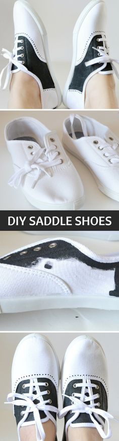 Shoe Makover: Painted Faux Saddle Shoes Tutorial. Locking this idea away for future Halloween costume ideas!