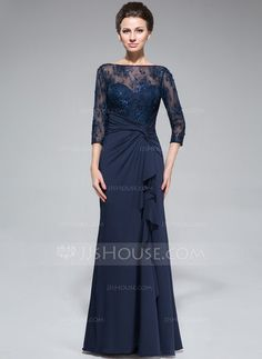 Empire Scoop Neck Floor-Length Lace Jersey Mother of the Bride Dress With Beading Sequins Split Front Cascading Ruffles (008050415) - JJsHouse