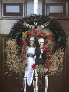 Skeleton Halloween wreath Halloween wedding by SassySouthernThings