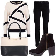 Outfit composto da un jeans nero vestibilità skinny, pullover dai colori neutri, stivaletti neri e per finire come accessorio ho abbinato una borsa a mano che richiama i colori dell'outfit.