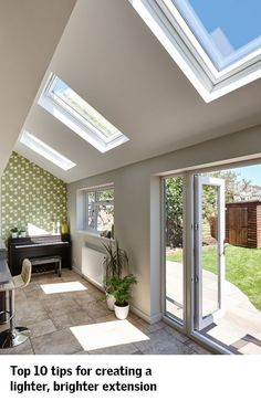 An extension can transform your home ? and VELUX roof windows can bring twice the daylight to transform your extension. Get our tops 10 tips on how to make your extra space feel extra spacious ? and extra special. Extension Veranda, Conservatory Extension, Rear Extension, Building An Extension, Orangery Extension Kitchen, Extension Costs, Conservatory Dining Room, Conservatory Interiors, Extension Plans