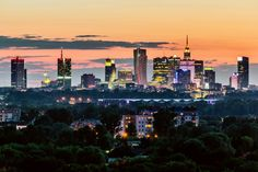 Warsaw City Skyline After Sunset by Filip Bramorski on Warsaw City, Warsaw Poland, Largest Countries, Countries Of The World, Seattle Skyline, New York Skyline, Baltic Sea, Central Europe, City Lights