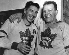 """Max Bentley and Turk Broda. Two vital pieces of the Dynastic Maple Leaf teams of the mid Max still has his teeth in, so both are literally """"all smiles"""". Maple Leafs Hockey, Nfl Fans, Toronto Maple Leafs, All Smiles, Nhl, The Past, Leaves, Sports, Harry James"""