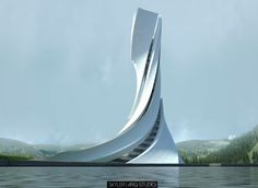 Hizdahr tower on behance architecture arkkitehtuuri Architecture Design, Parametric Architecture, Organic Architecture, Concept Architecture, Futuristic Architecture, Beautiful Architecture, Contemporary Architecture, Contemporary Building, Contemporary Stairs