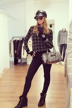 Paris Hilton wearing Alice + Olivia Diamond Rhinestone Sweater, Gucci Leather Newsboy Cap, Giuseppe Zanotti Lorenz Wedge Sneakers, Helmut Lang Black Slim Fit Wool Trousers and Skull Cashmare Gloves