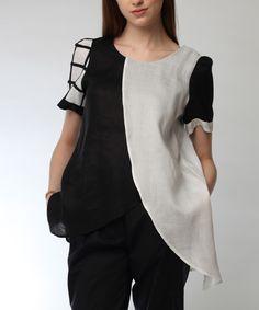 Look at this #zulilyfind! JSong Black & White Linen Cross-Drape Top - Women & Plus by JSong #zulilyfinds
