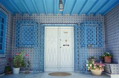 Tunisia, Sidi Bou Said.  Tiled Doorway, Entrance to a Tunisian House.