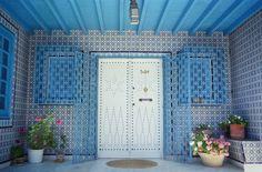 Tunisia, Sidi Bou Said.  Tiled Doorway, Entrance to a Tunisian House.