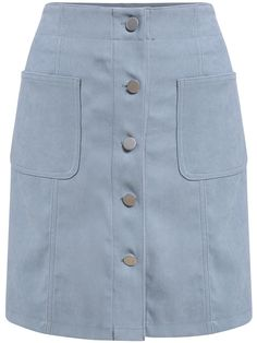 Shop Single Breasted Pockets Suede Blue Skirt at ROMWE, discover more fashion styles online. Cute Skirts, Short Skirts, Mini Skirts, Modest Dresses, Casual Dresses, Hijab Fashion, Fashion Outfits, Trendy Ankara Styles, Blouse Dress