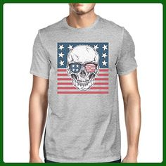 365 Printing Skull American Flag Shirt Mens Gray Round Neck Tee Gifts For Dad - Relatives and family shirts (*Amazon Partner-Link)