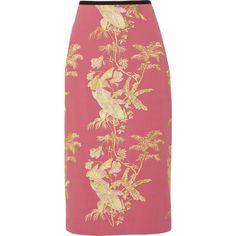 Erdem Safia metallic embroidered crepe midi skirt (48 445 UAH) ❤ liked on Polyvore featuring skirts, pink, mid calf pencil skirt, pink skirt, leaf skirt, metallic midi skirt and metallic skirt
