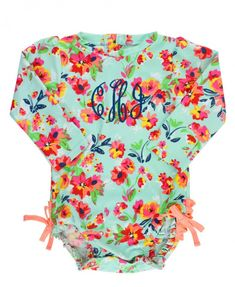 052461a962665 Painted Flowers One Piece Rash Guard - RuffleButts.com (DNP) Baby Girl  Swimwear