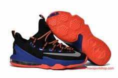 3eb1892b99388e 2016 Official Nike LeBron XIII Low Black Orange Blue Basketball Shoes Blue Basketball  Shoes