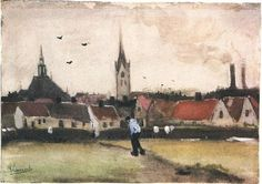 Vincent van Gogh View of The Hague with the New Church Watercolor