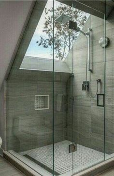 Loving this Attic Bathroom Shower design! Especially the window! Like taking a shower outside! #shower #bathroomideas #bathroomdesign #BathroomIdeas