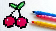 Handmade Pixel Art - How To Draw Cherries #pixelart