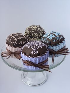 """Delizioso! - These four """"chocolate"""" treats are worked in the wonderful Italian form of needlework known as Punto Antico embroidery.  So yummy!"""