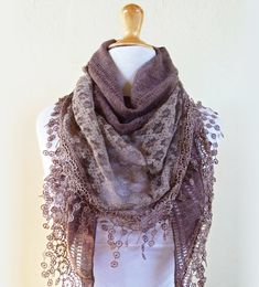 Scarf Meridian in BARLEY/MOCHA/Taupe/Warm Brown with rich lace edge - scarflette cowl neckwarmer via Etsy