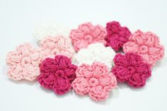 SET of 10 Crochet Mini Flower Appliques for home decor, party decor, girl's room, dress, shawl, hat, poncho, bag, scrap book, gift card by LaLehCrochet on Etsy