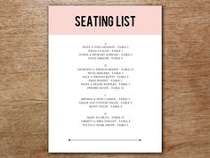 Easily create a gorgeous list of wedding guest seating arrangements. Just download the editable pink block themed PDF seating list, enter your text and print! Printable Wedding Programs, Wedding Invitations Online, Wedding Planning List, Wedding Planner, Seating Plan Template, Best Friend Speech, Affordable Wedding Photography, Wedding Seating, Diy Wedding