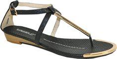 VANGELO #Women Flat #Sandal GABANA Fashion with Metallic Thong Decoration Black 37M