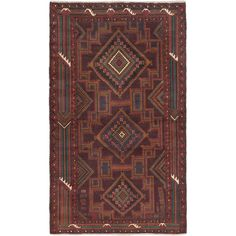 eCarpetGallery Royal Baluch /Red Hand-knotted Rug