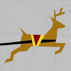 """Santa's Reindeer 6"""" (16cm) Paper Pieced pattern quiltartdesigns.blogspot.com"""
