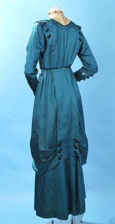 1910 Teal Blue Green Silk Ladies Afternoon Dress w Hobble Skirt {1}