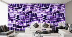 tapete violett wohnzimmer metall optik welle