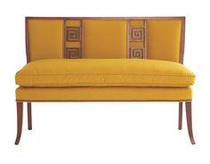 Modern Greek Key settee with classic sabre legs   Eric Kohler for Lee Jofa   House Beautiful...