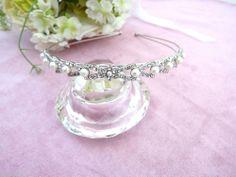 Vintage Art Deco Style Tiara Hair Band Headband Crystal & Pearl Silver tone