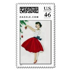 Vintage 50's Christmas Holiday Postage Stamps by Pollyanna Graphics