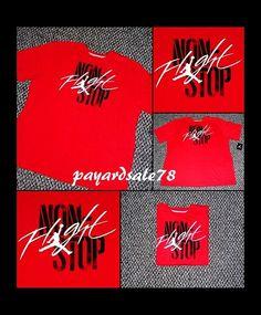 MEN'S SIZE 3XL NON STOP FLIGHT T-SHIRT RED WHITE BLACK JORDAN JUMPMAN  #NIKE #GraphicTee