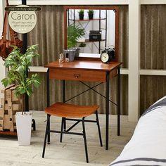 ドレッサースツール付きカロンcaronca120-60d送料無料ドレッサー鏡台化粧台1面ドレッサー椅子付きイス付きミラー収納収納家具おしゃれ木製ウォールナットアイアン北欧レトロアンティークヴィンテージ風シンプルスリムブラウン10P27May16 Nightstand, Dresser, Office Desk, Sweet Home, New Homes, Room Decor, Bedroom, Interior, Table