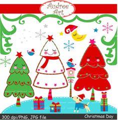 Christmas clip art christmas trees clip art x mas by audreeart, $4.80