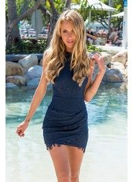 Navy Lace Bodycon Dress with High Neck & Layered Skirt