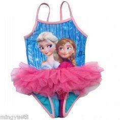 b40150675a New Disney Princess Frozen Queen Elsa Anna Girls One Piece Tutu Swimsuit  4-5T