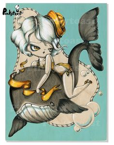 Nautical Fairy Tale-Big Eye Pinup And the Whale-Pinkytoast Painting
