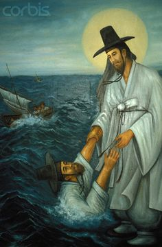 Korean Jesus. Depiction of Jesus Rescuing the Drowning Saint Peter - Image by Phillipe Lissac/