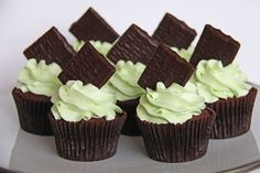 After Eight Cupcakes : Chocolate Cakes With Peppermint Buttercream