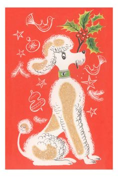 Vintage Christmas poodle